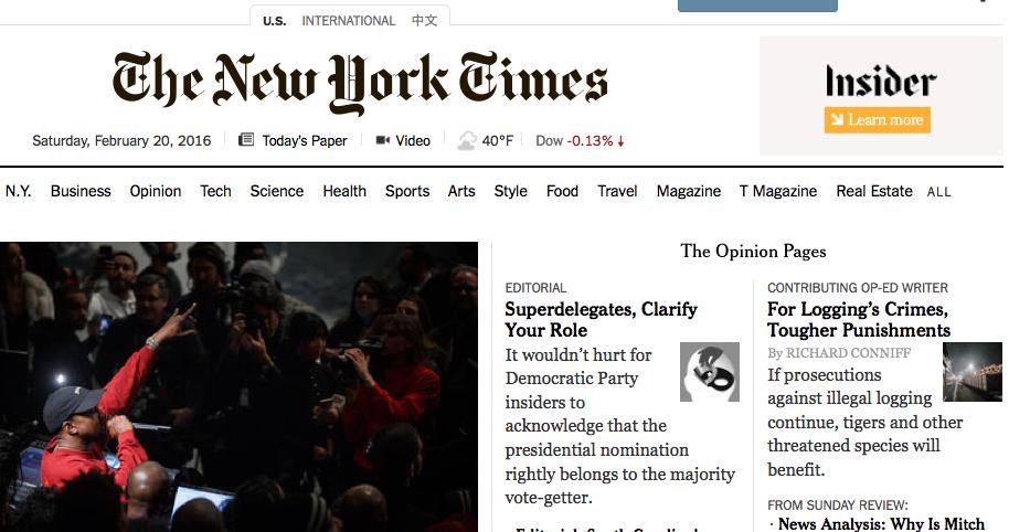 NYT front page Screen Shot 2016-02-20 at 1.50.35 AM